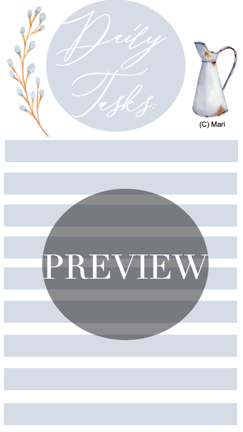Daily Tasks Printable | Freebie | Shop @ Gumroad | Designed by Mari
