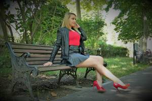 RED STILETTO WITH BLACK LEATHER JACKET AND BLACK LEATEHR SKIRT