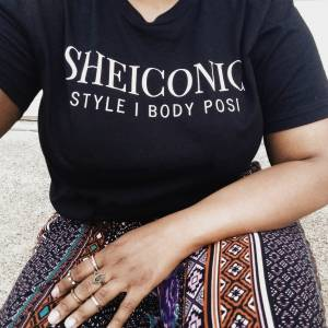 Styling My SHEICONIC Black Tee with A Body Posi Attitude