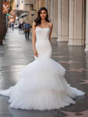 Best ruffled bridal wedding dress