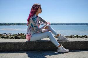 All Pastel Everything: Watercolour Blouse & Pale Denim