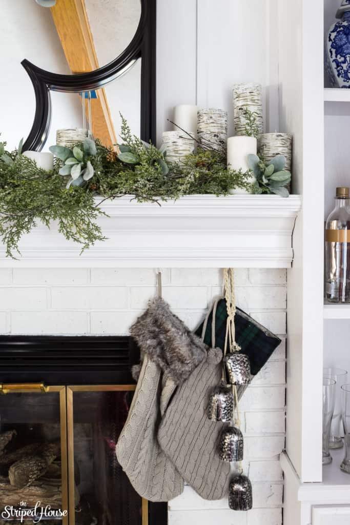 Christmas Mantel Decor  via The Striped House