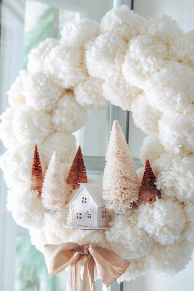 Winter Pom Pom Wreath  via Modern Glam