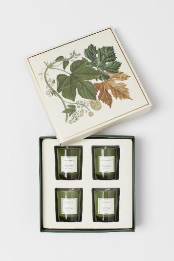 Cadeauset van 4 geurkaarsen - Gebroken wit/donkergroen - HOME | H&M NL